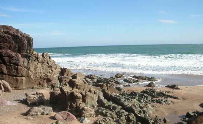 A rocky ocean shore