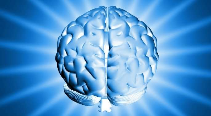 Brain graphic, blue