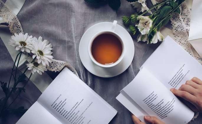 Poetry books and a mug of tea