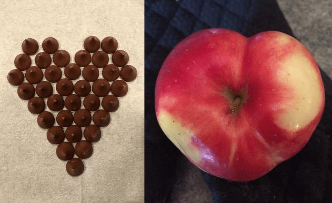 Chocolate kisses and an apple shaped like hearts