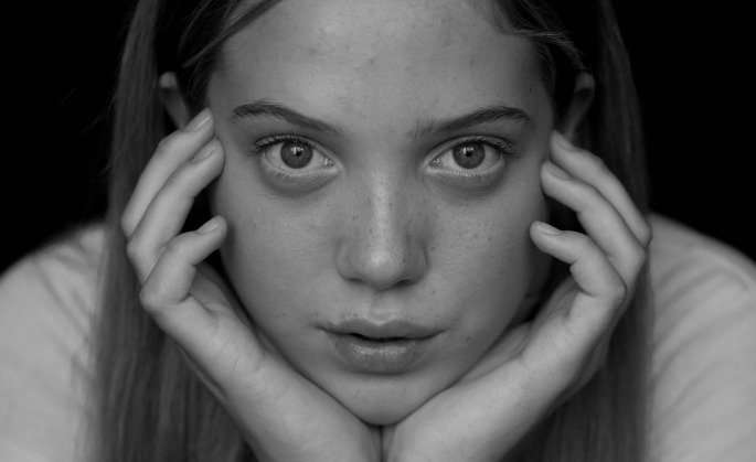 Worried woman, black and white
