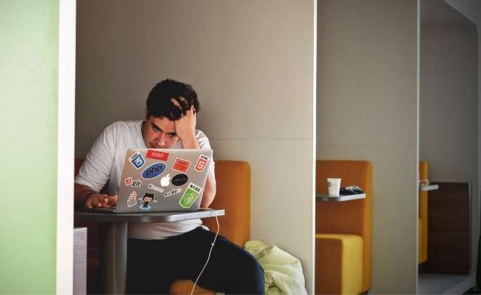 Annoyed man on computer