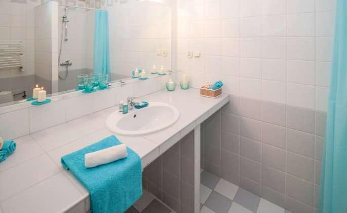 Bathroom sink with blue