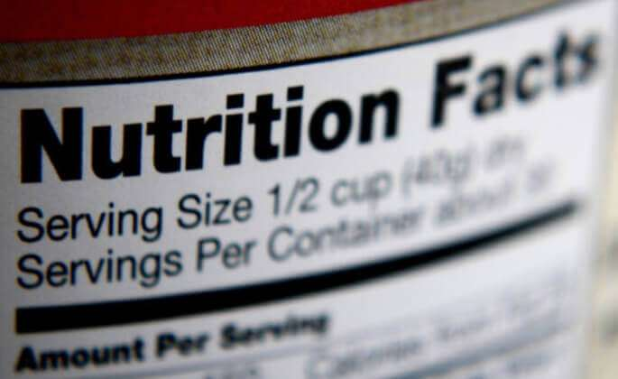 A close-up view of a nutrition label